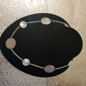 Silver Tone Hammered Circle Necklace